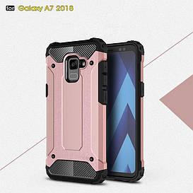 Чехол накладка для Samsung Galaxy A8 Plus 2018 A730 противоударный, Spider, золотисто-розовый