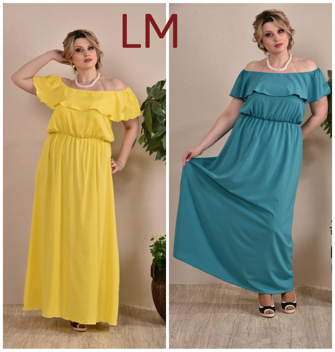 Платье 770261 Р 68,70,72,74 женское летнее желтое батал зеленое длинное в  пол макси большое afd97ca98ef