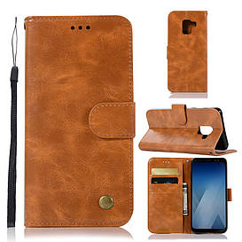 Чехол книжка для Samsung Galaxy A8 Plus 2018 A730 боковой, Premium Vintage, коричневый