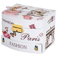 """Шкатулка большая для хранения украшений с зеркалом, """"Мода Париж, 15Х13Х12см."""