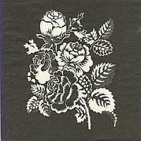 Декупажная салфетка Букетик на чёрном фоне 7206