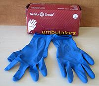 Перчатки ambulators синего цвета из латекса неопудренные. Размер L. Упаковка: 50 шт. PRC /0-522