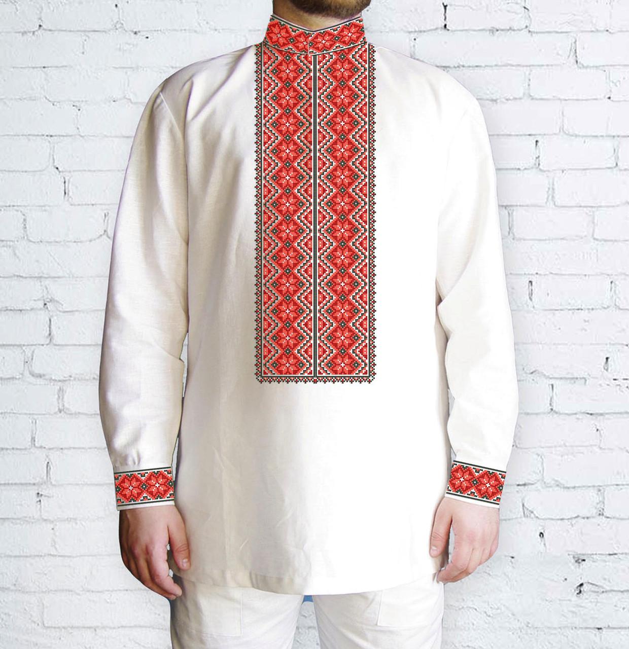 Заготовка чоловічої сорочки та вишиванки для вишивки чи вишивання бісером Бисерок «Ромби червоні 510 Ч» (Ч-510 Ч )