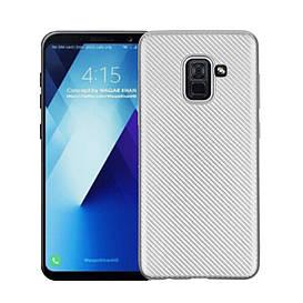 Чехол накладка для Samsung Galaxy A8 Plus 2018 A730 силиконовый, Carbon Fiber Texture, серебристый