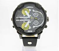 Часы Diesel Brave Oversize Dual Time (Кварц) Black/Yellow. Реплика