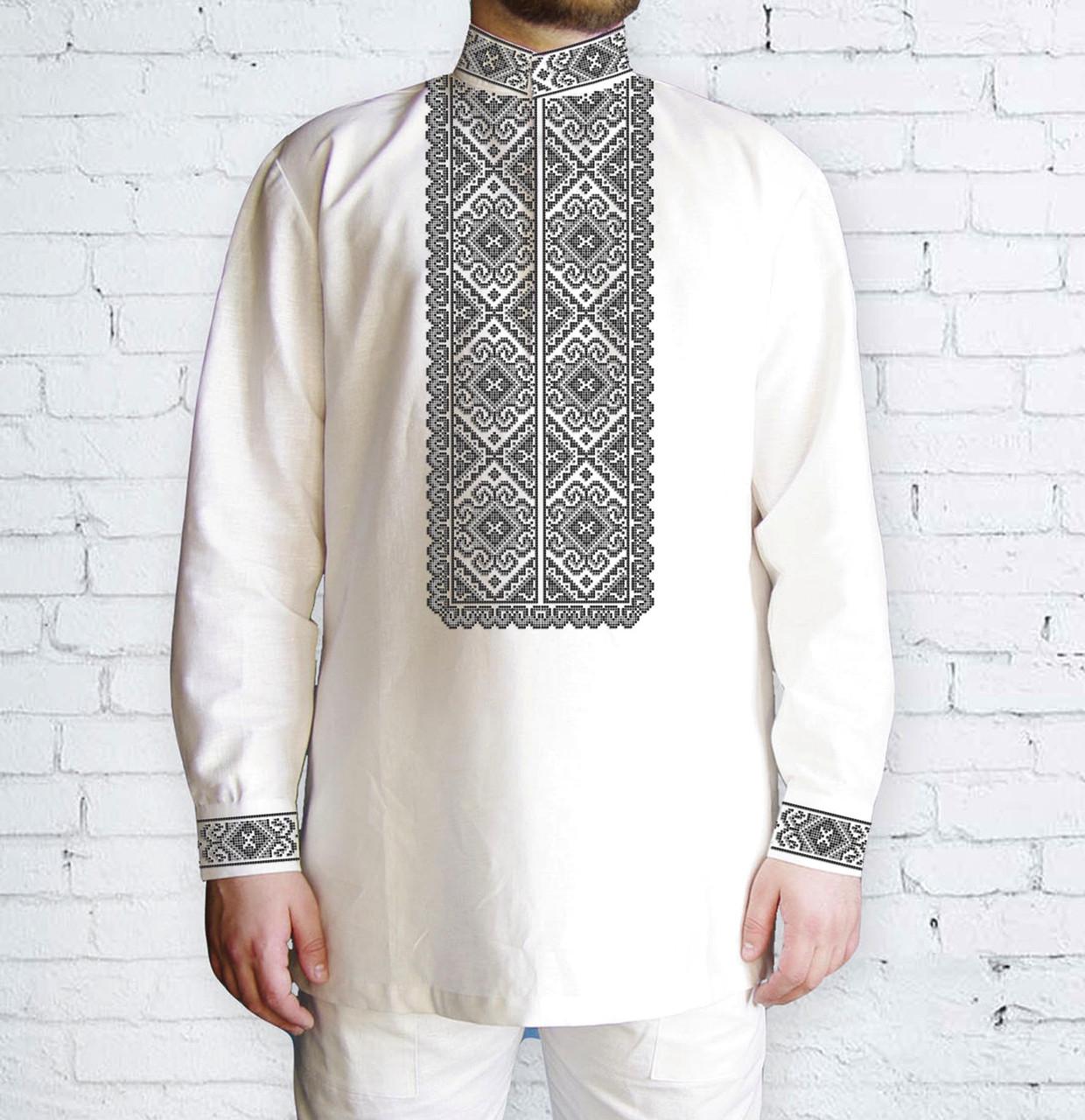 Заготовка чоловічої сорочки та вишиванки для вишивки чи вишивання бісером Бисерок «Завитки сірі» (Ч-507 С )