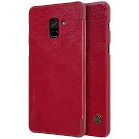 Чехол книжка для Samsung Galaxy A8 Plus 2018 A730 боковой с отсеком для визиток, NILLKIN Qin Series, красный