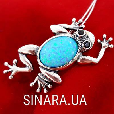 Серебряная брошь Лягушка с опалом - Жабка Лягушка брошь серебро 925