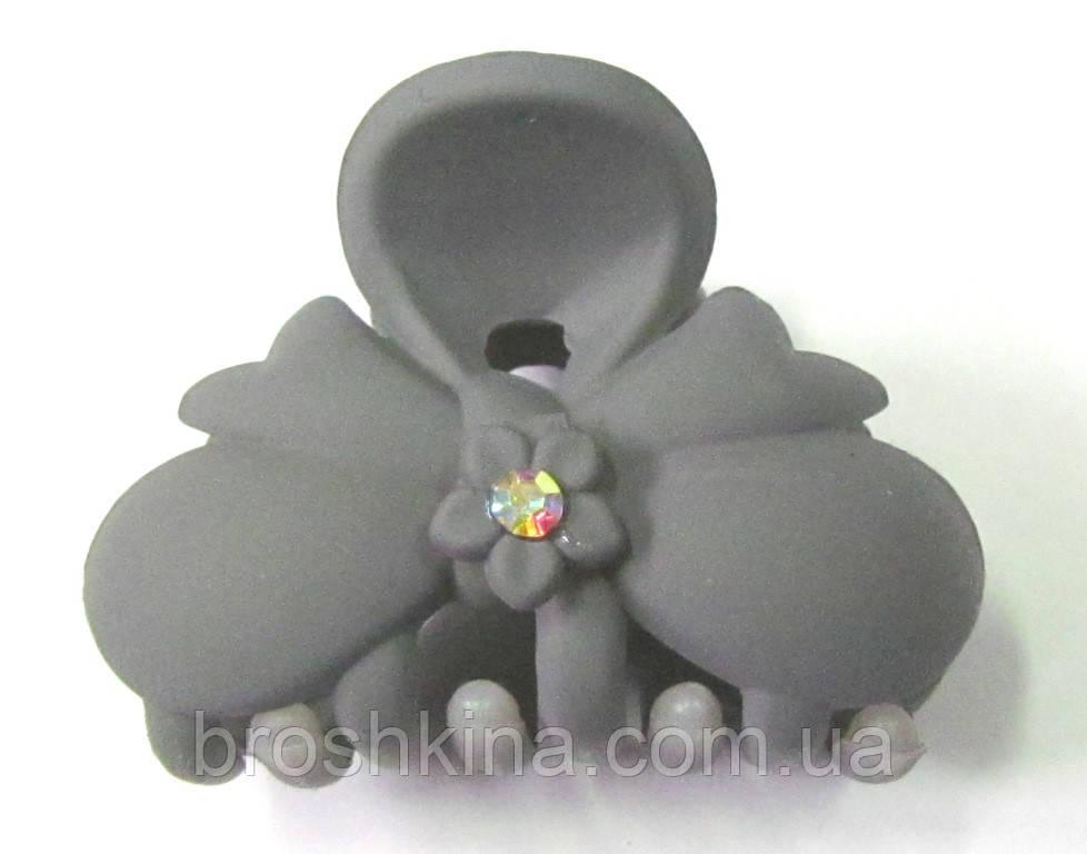 Крабик для волос каучук со стразами  L 4 см серый