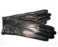 L879 Чёрные Перчатки женские кожа кашемир зимние