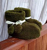 Чуни меховые зеленого цвета 28-35