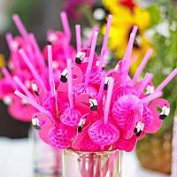 Коктейльная трубочка с гофрой Фламинго 10 штук