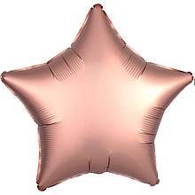 Шар звезда 46 см сатин розовое золото