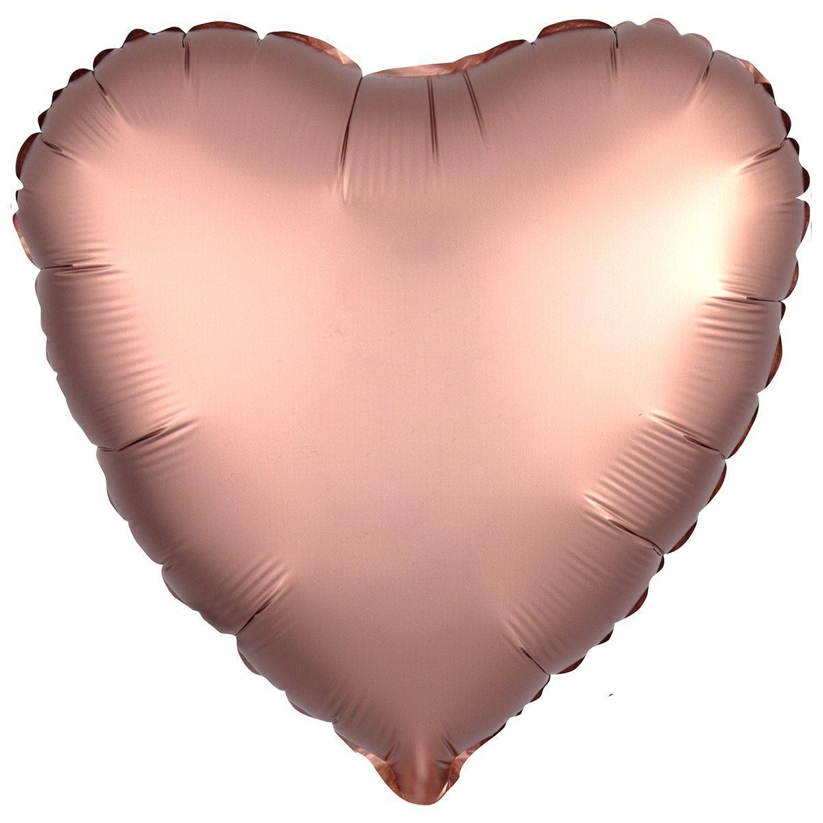 Шар сердце 44 см сатин розовое золото