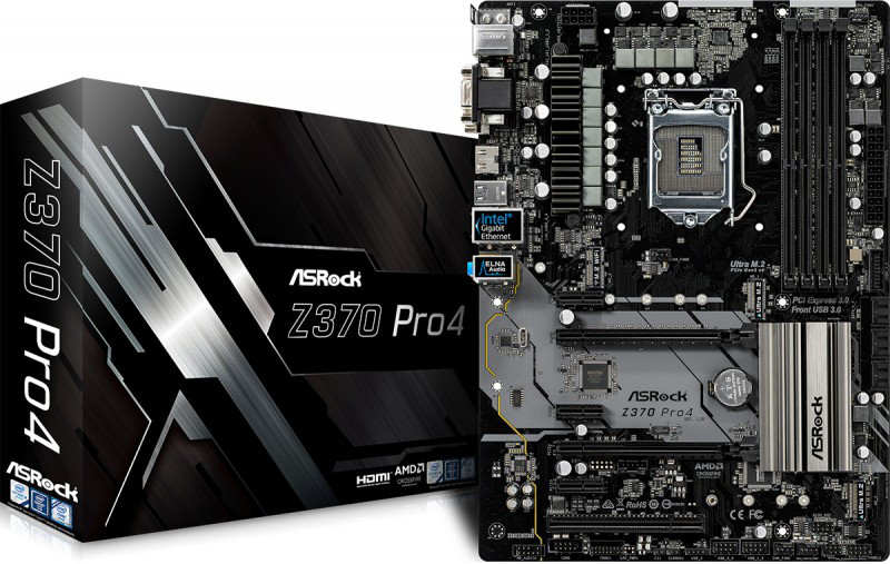 "Материнская плата ASRock Z370 Pro4 Socket 1151v2 DDR4 ""Over-Stock"" Б/У"