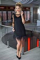 Платье-двойка коктейльное в черном цвете, фото 1