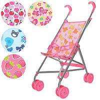 Детская коляска трость для куклы с металлическим каркасом и двойными колесами Melogo 9302: 5 цветов