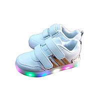 Кроссовки BBT белые светящиеся для девочек (р.27)