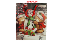 "Пакет для подарков ""Мишки и снеговик"" 26х32х10 см"