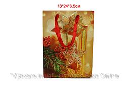 """Пакет праздничный """"Золотой подарок"""" 18х24х8,5 см"""