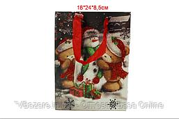 "Пакет для подарков ""Мишки и снеговик"" 18х24х8,5 см"