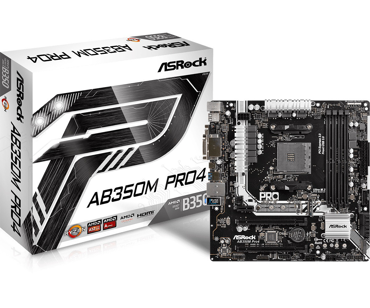 "Материнская плата ASRock AB350M Pro4 AM4 DDR4 (AB350M PRO4/M/ASRK)""Over-Stock"" Б/У"