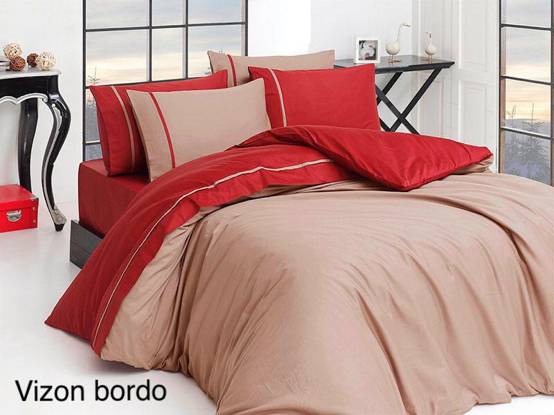 Постельное белье сатин First Choice (евро-размер) № Vizon Bordo