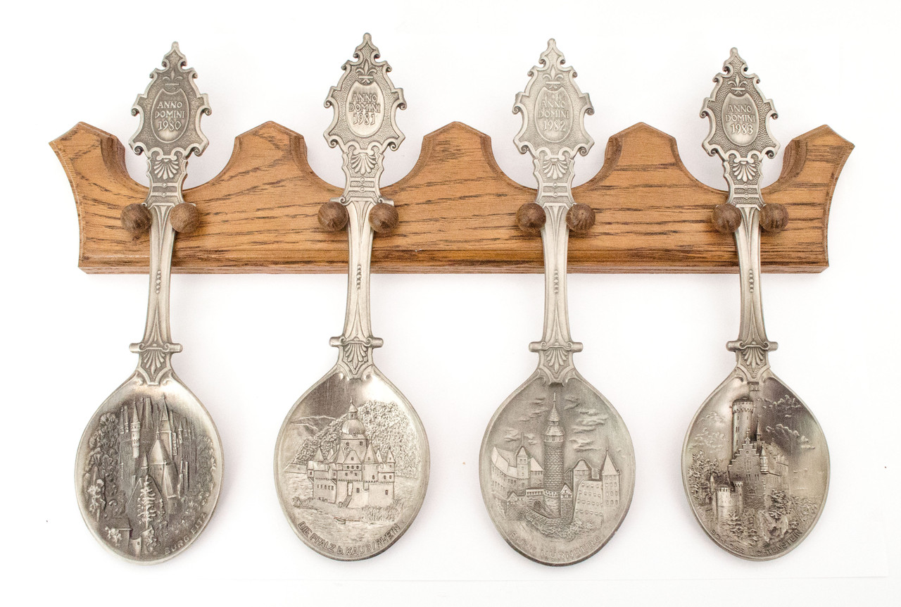 Набор, четыре ложки ANNO DOMINI, олово, Германия