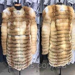 Шубка из меха лисы, длина 90 см, 46 размер