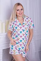 Хлопковая пижама MiaNaGreen П404 Диаманты, фото 1