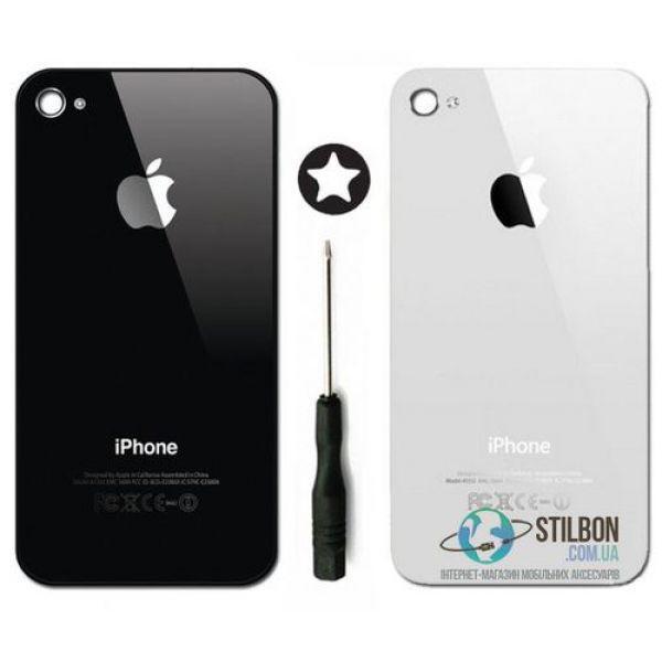 Задняя крышка для Apple iPhone 4/4S black/white + отвертка