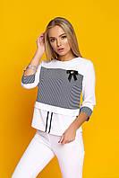 """Легкая женская белая блузка с отделкой в полоску, рукав 3/4 """"Симона""""1"""