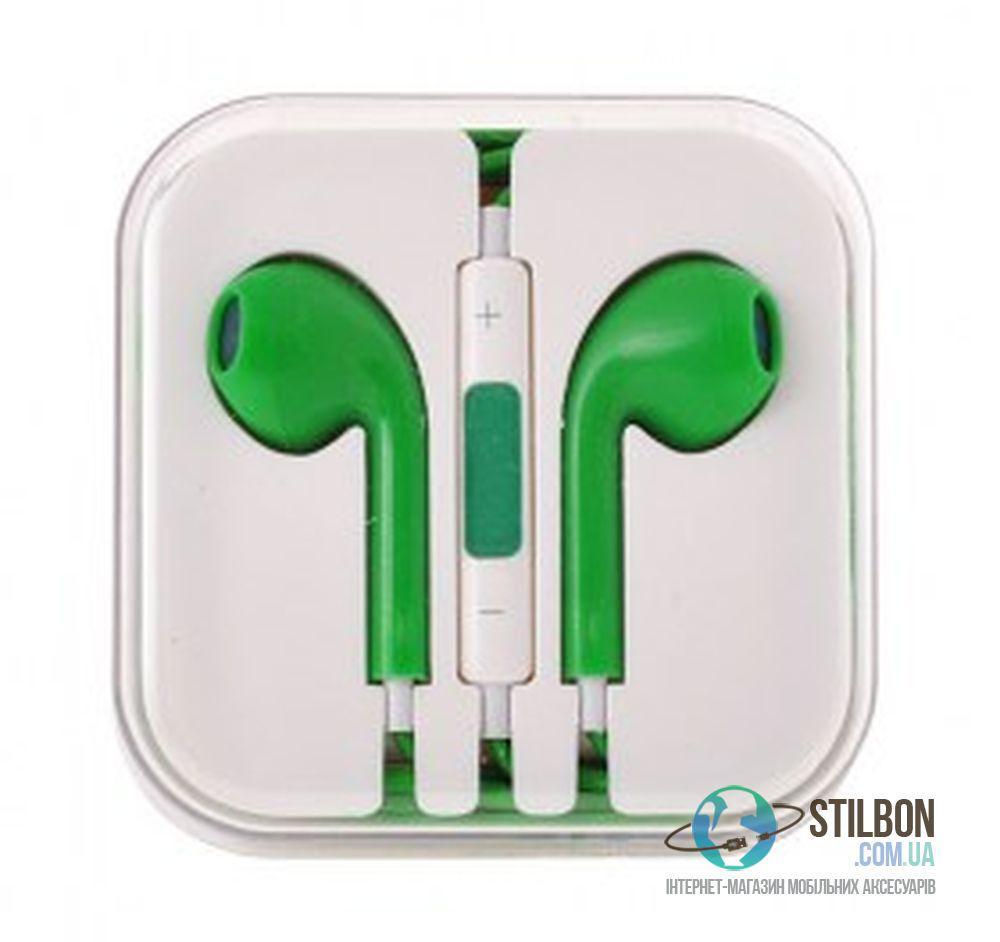 Наушники EarPods copy в коробке вкладыши гарнитура Green