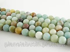 10мм Амазонит Матовый, VC101, Натуральный камень, бусины, Форма: Шар, Отверстие: 1,5 мм, кол-во: 38-40 шт/нить