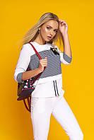 """Легкая женская белая блузка с отделкой в полоску, рукав 3/4 """"Симона""""2"""