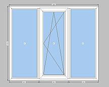 Трехстворчатое окно Rehau-70  с однокамерным стеклопакетом,на три части с одной створкой Рехау-70