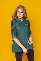 """Оригинальная женская асимметричная блузка с оборками и нашивкой """"Лили"""" (зеленый)"""