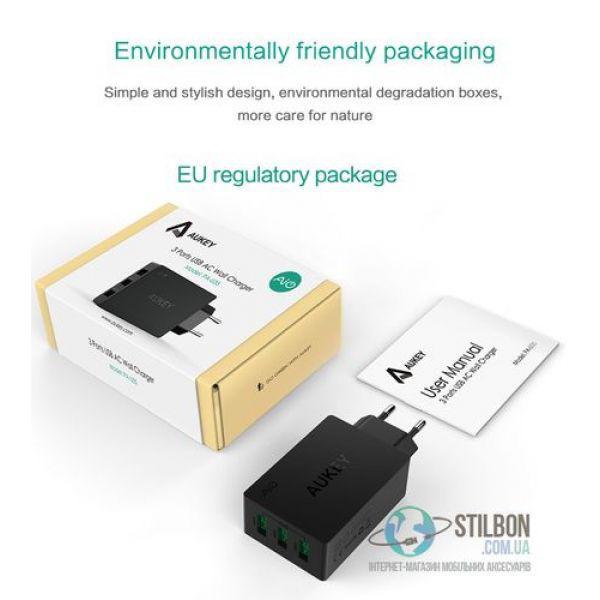 AUKEY Зарядное устройство USB 3 порта 6A/30W (Model: PA-U35)