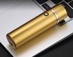 Электроимпульсная USB зажигалка WEXT Shell золотая матовая, фото 2