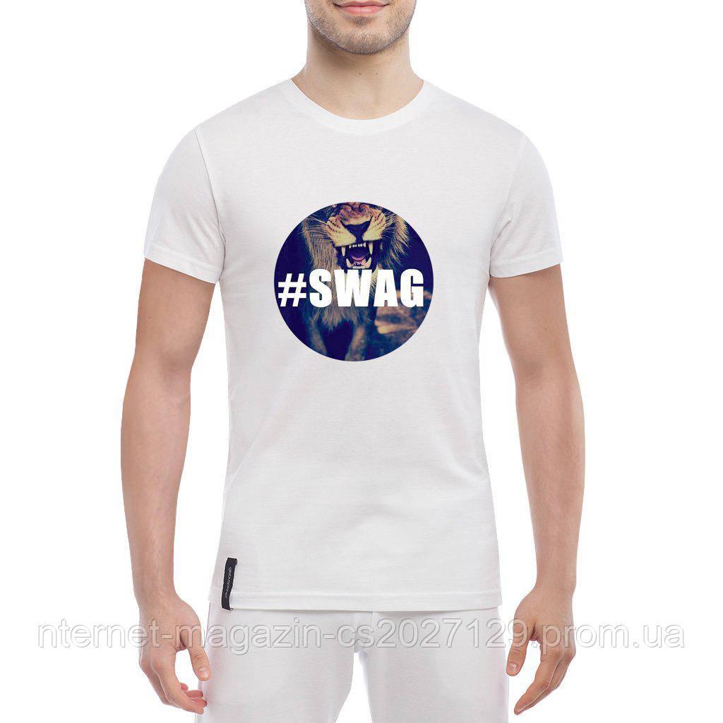 Футболка с печатью принт Лев в стиле SWAG
