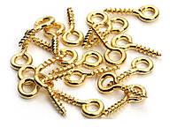 Штифт винтовой золотой для бижутерии (ювелирный) 1 см 50 шт/уп