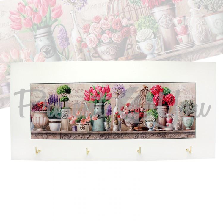Панно настенное с крючками «Прованс. Цветы», 38х18 см (263-1401W)
