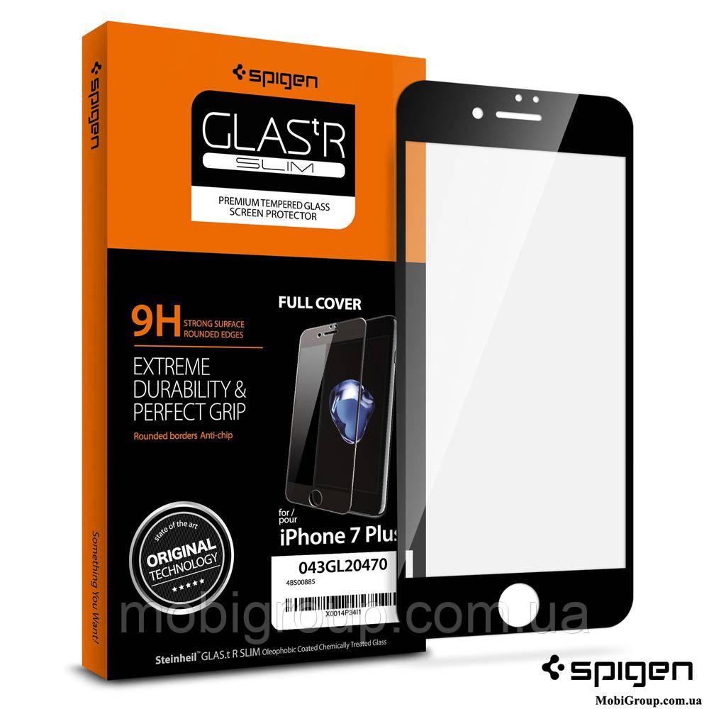 Защитное стекло Spigen для iPhone 7Plus Full Cover, Black