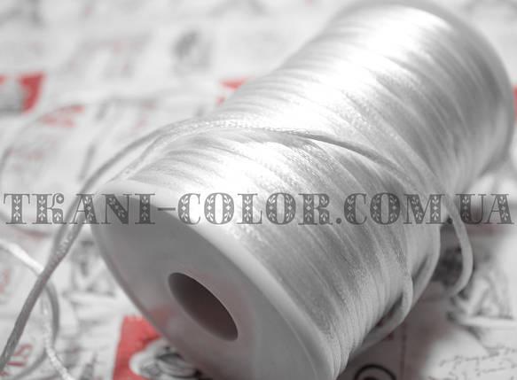 Шнур атласный белый 2мм, намотка 100м, фото 2