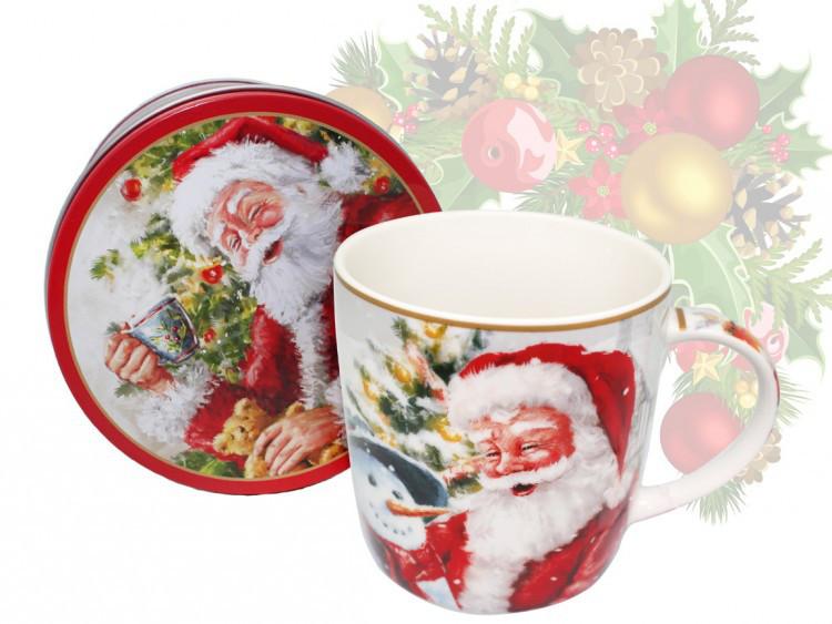 Кружка фарфоровая с новогодним рисунком в металлической коробке«Santa Claus», h-9 см, 375 мл (880-9043.6)