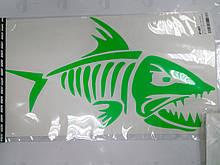 Виниловая наклейка флуоресцентная СКЕЛЕТ РЫБЫ  24х14 см