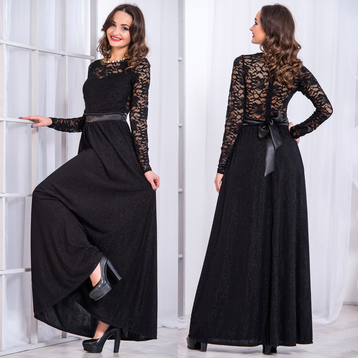 3193c8ca51a Черное вечернее длинное платье