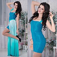 """Вечернее, нарядное бирюзовое платье трансформер """"Джесси"""", фото 1"""