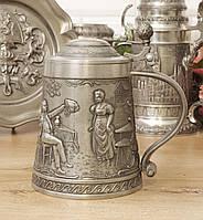Коллекционный оловянный пивной бокал, пищевое олово, Германия, 700 мл, фото 1