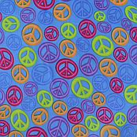 Коттон ( хлопок, хлопковая ткань ) Druck светлый ультрамарин cо знаками мира ш.140, итальянская ткань ( из Ита